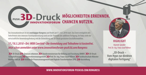 save the date innovationsforum PUSH.3D-Druck 2/2